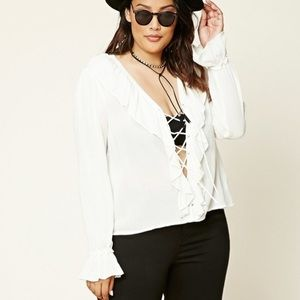 FOREVER 21+ Lace-up Ruffled Blouse Top White NWT